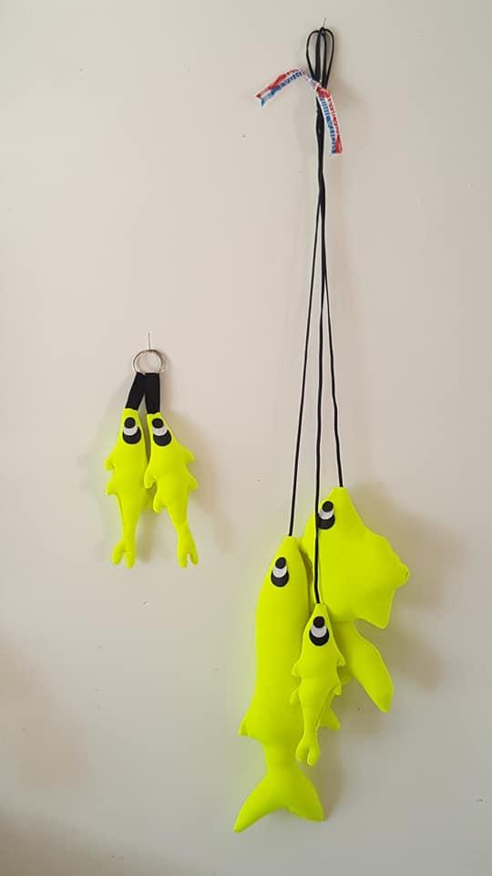 pêche décorative à suspendre, création Fred Petit
