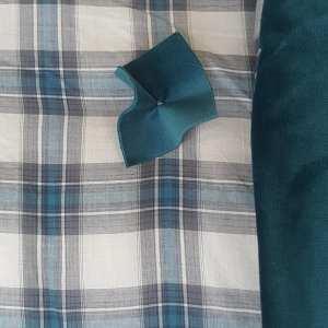 detail plaid madras et velours paon
