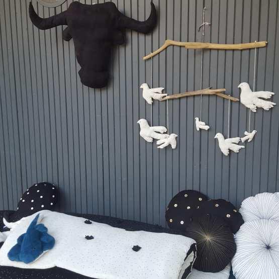 mobile oiseaux, suspension sur bois flotté, artisanat, pièce unique , fred Petit
