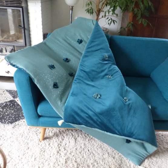 courtepointe éversible bleu paon et eucalyptus
