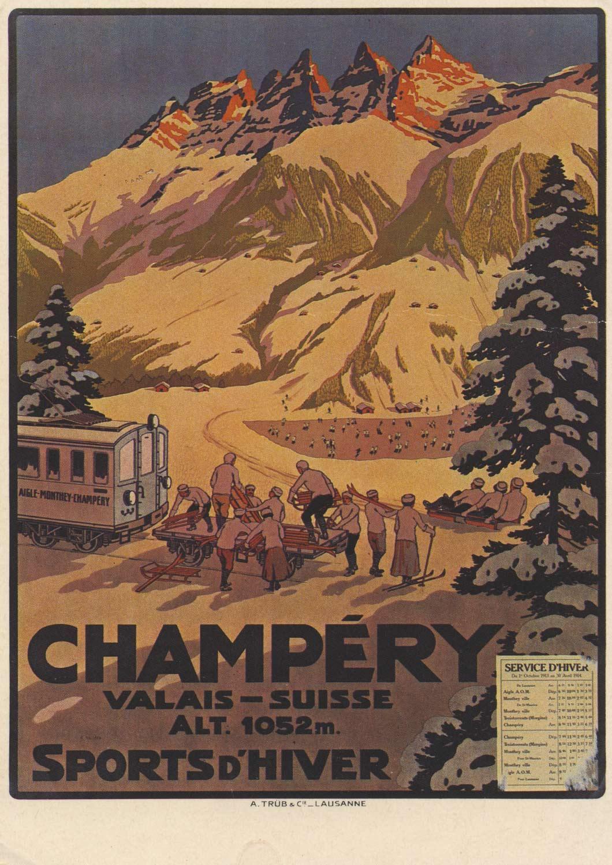 Carte postale, affiche. Office du Tourisme de Champéry. Sports d'hiver