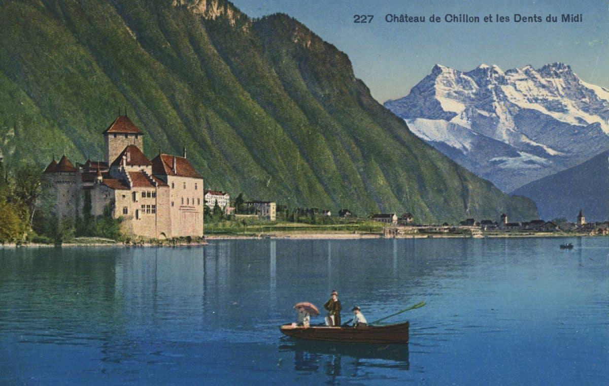 Carte postale. Château de Chillon et les Dents du Midi