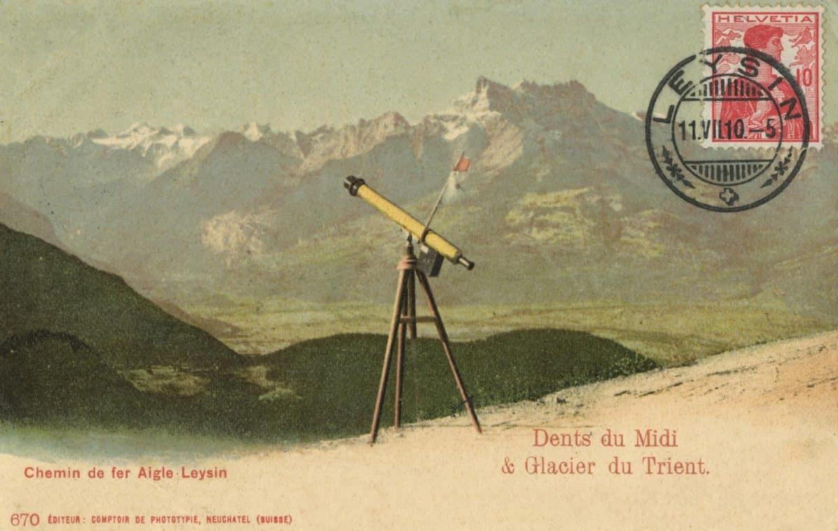 Carte postale. Chemin de fer Aigle-leysin, Dents du Midi et glacier du Trient