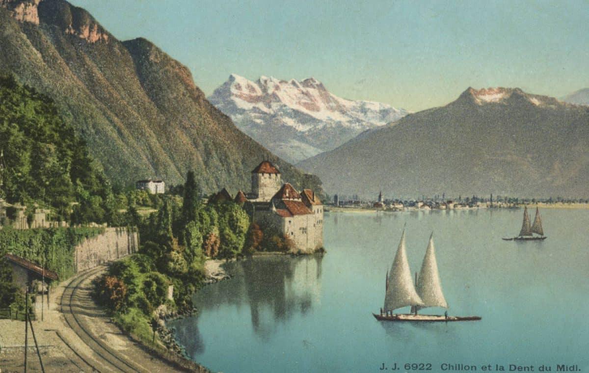 Carte postale. Chillon et la Dent du Midi