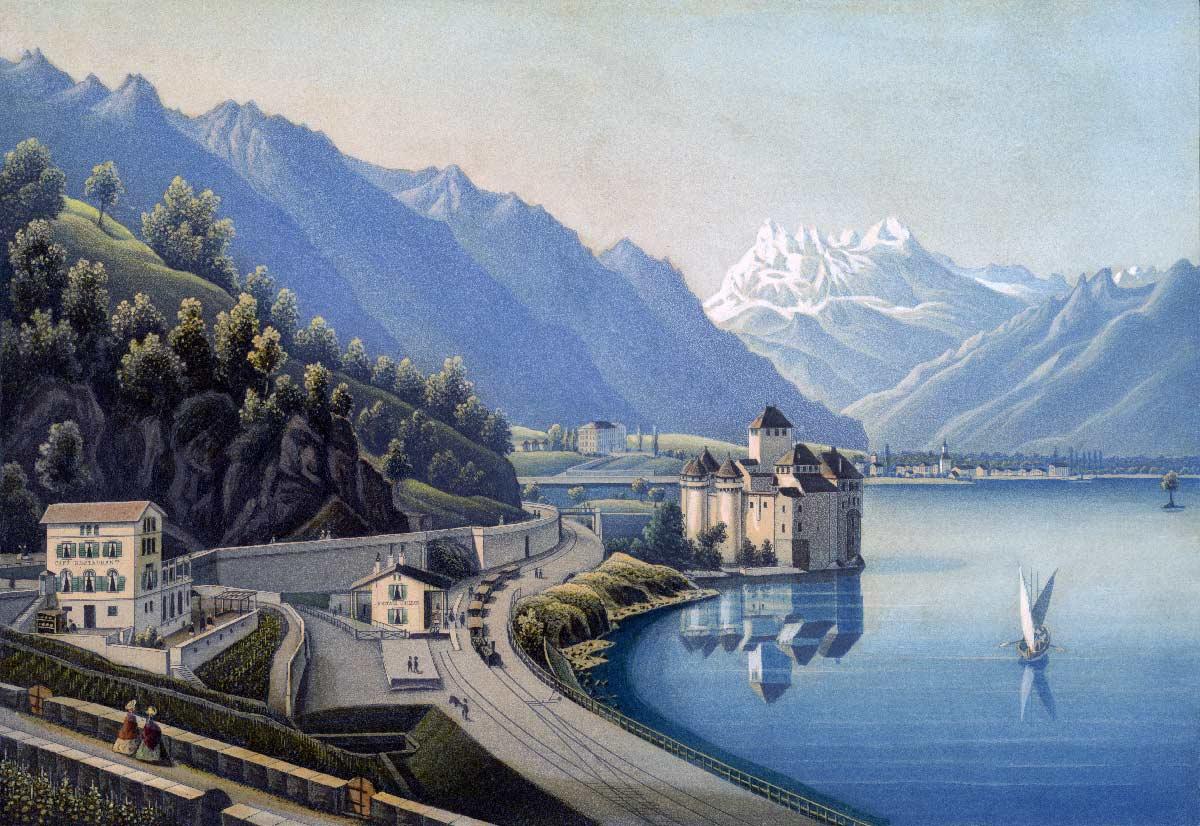 Aquatinte. Chillon et la Dent du Midi. Dessiné, gravé et publié par R. Dikenman peintre à Zürich, 1860-1870. 132 x 193mm