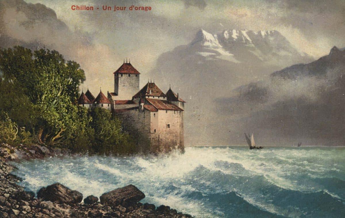 Carte postale. Chillon - Un jour d'orage