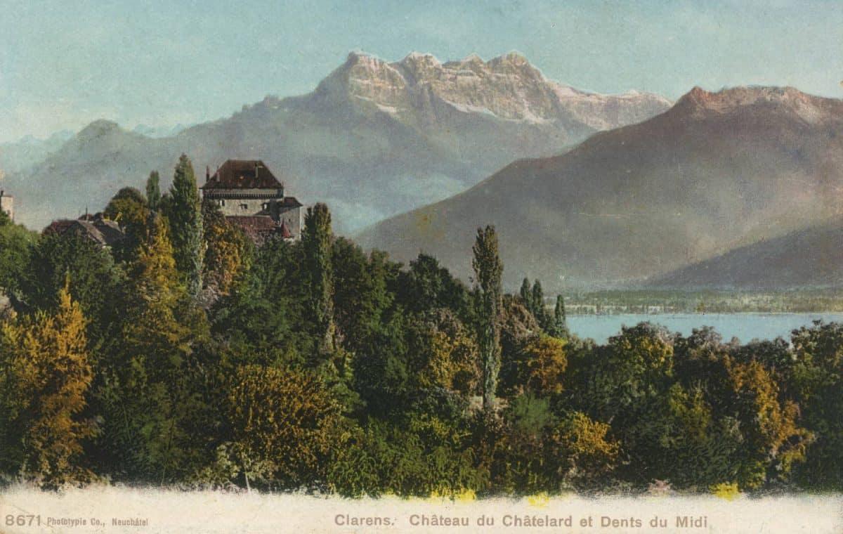 Carte postale. Clarens. Château du Châtelard et Dents du Midi