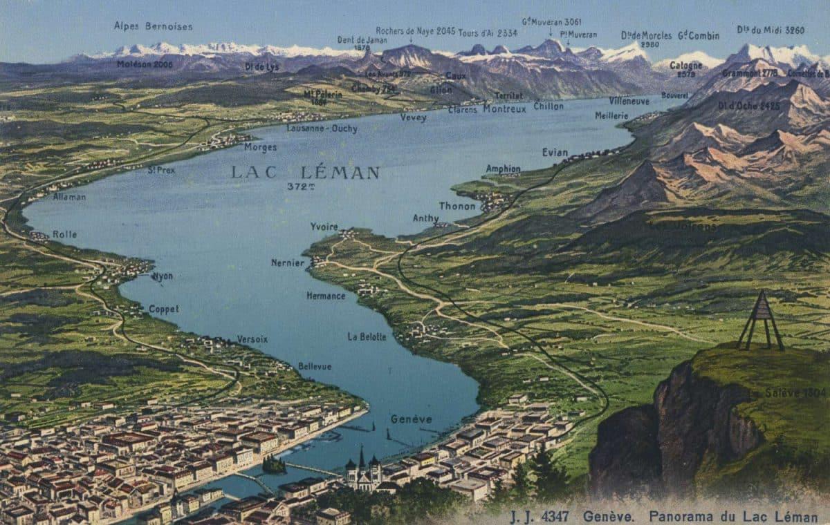 Carte postale, Genève. Panorama du Lac Léman