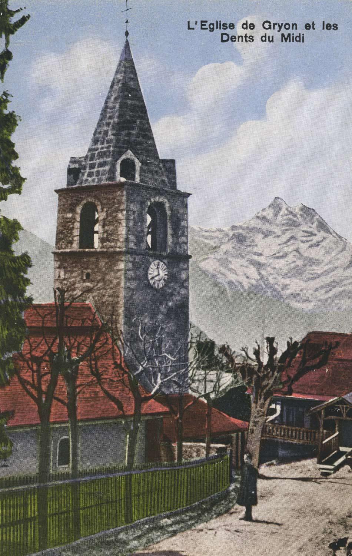 Carte postale. L'église de Gryon et les Dents du Midi