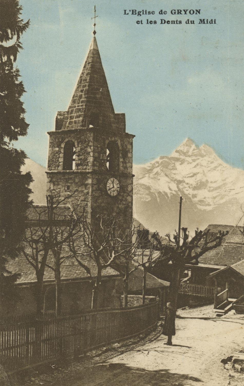 Carte postale - L'église de Gryon et les Dents du Midi