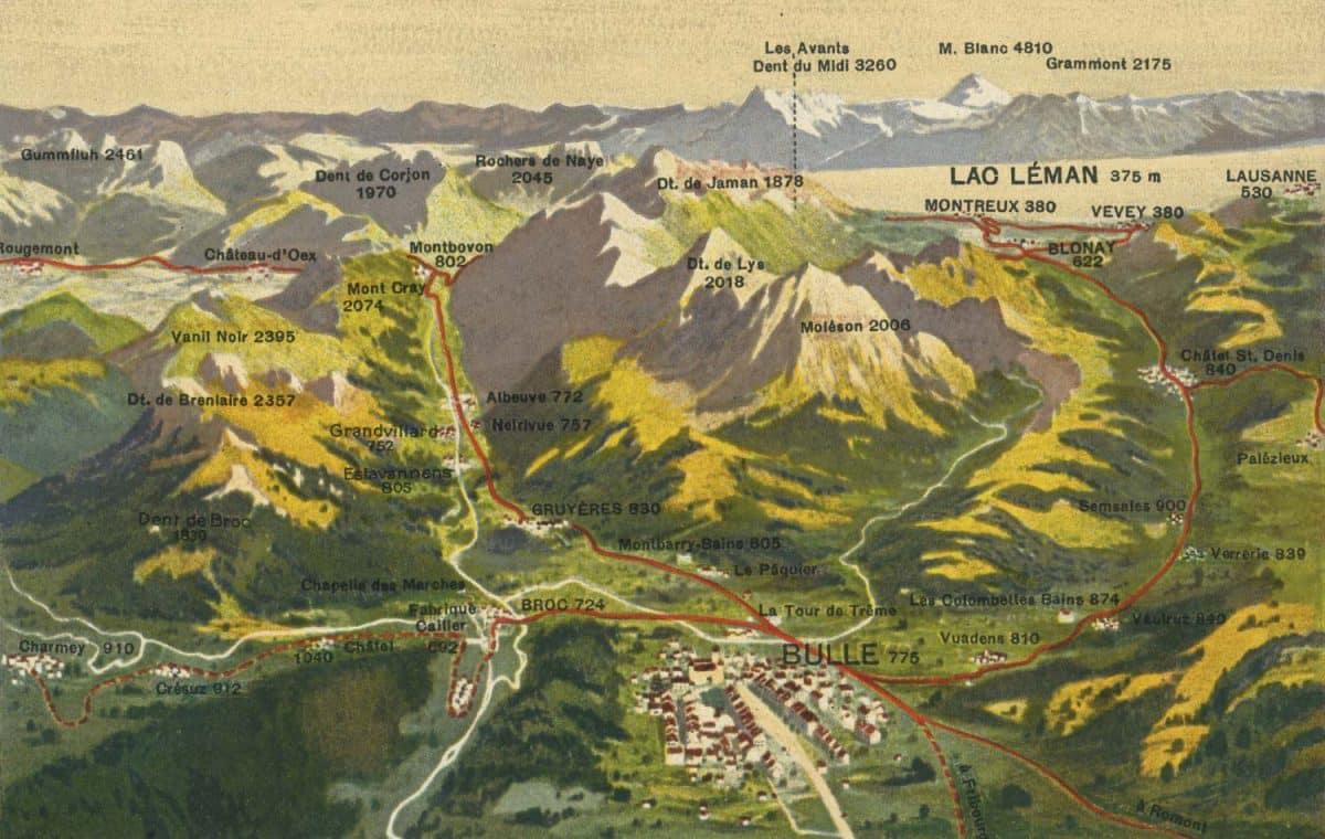 Carte postale, La Gruyère et ses chemins de fer électriques, excursions variées et charmantes