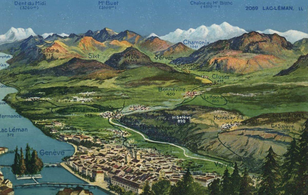 carte postale, Lac Léman