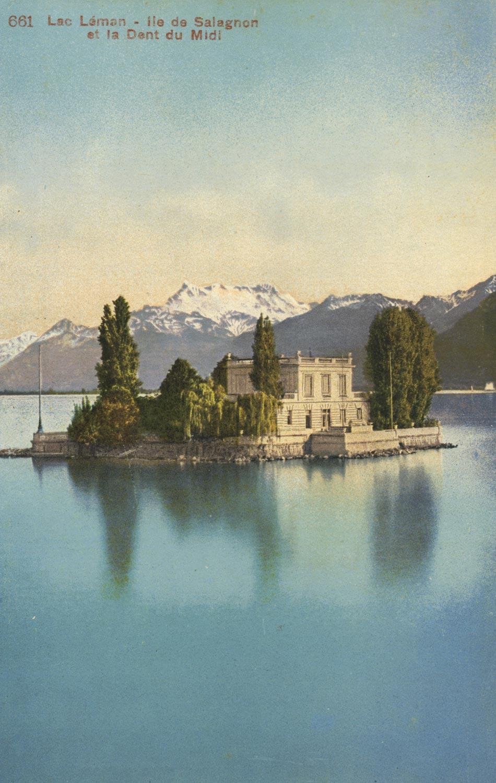 Carte postale. Lac Léman, île de Salagnon et la Dent du Midi