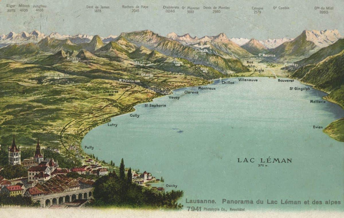 Carte postale, Lausanne. Panorama du Lac Léman et des Alpes