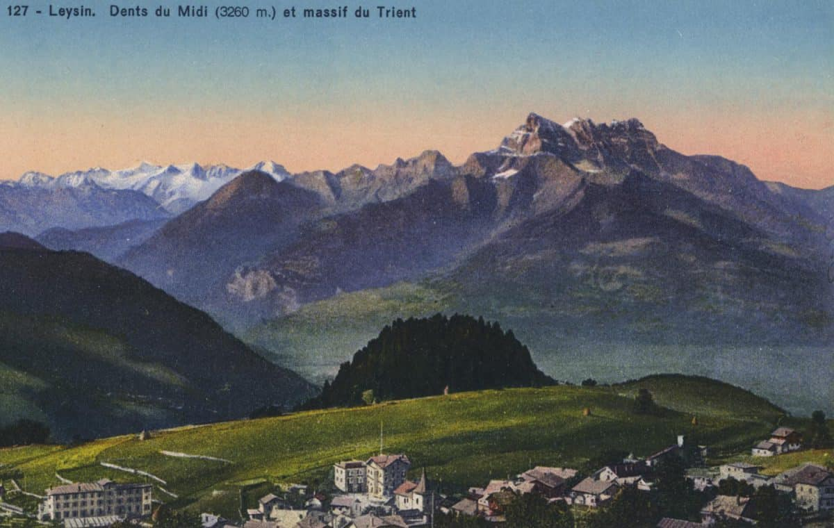 Carte postale. Leysin, Dents du Midi (3260m) et massif du Trient