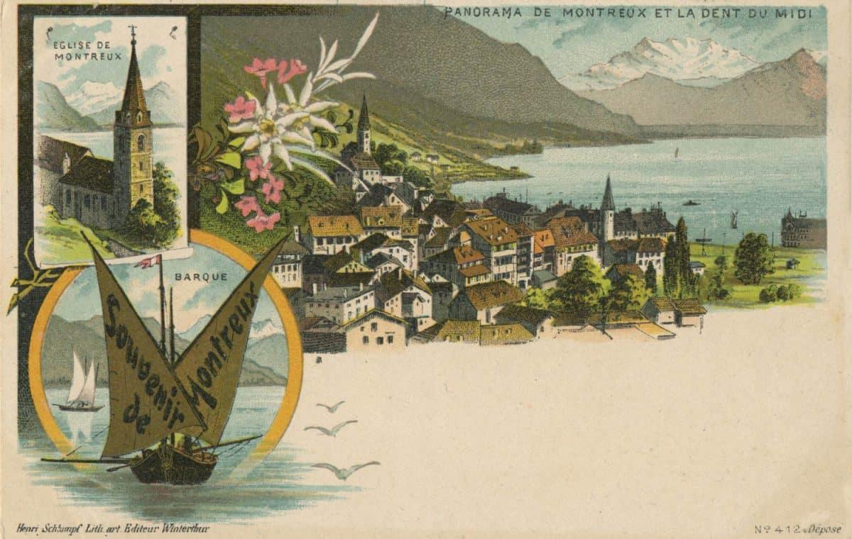 Carte postale, Panorama de Montreux et la Dent du Midi