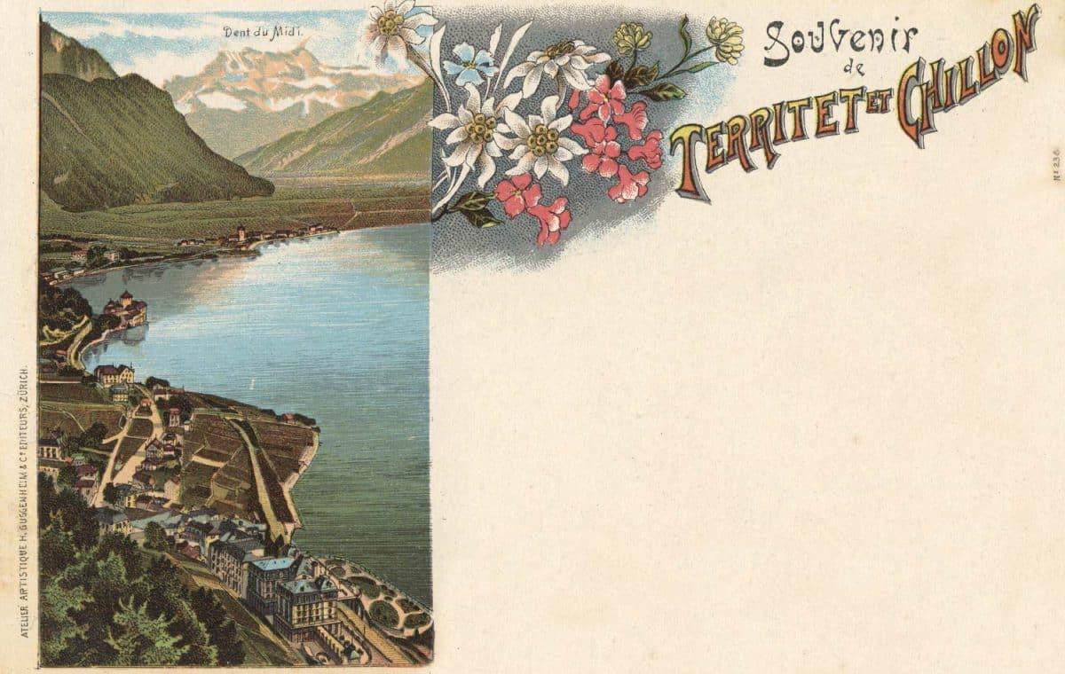Carte postale, Souvenir de Territet et Chillon