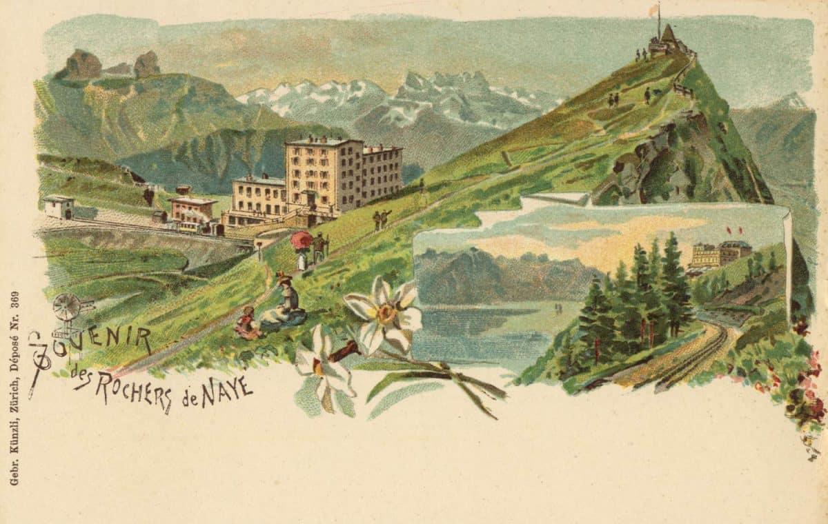 Carte postale, Souvenir des Rochers de Naye