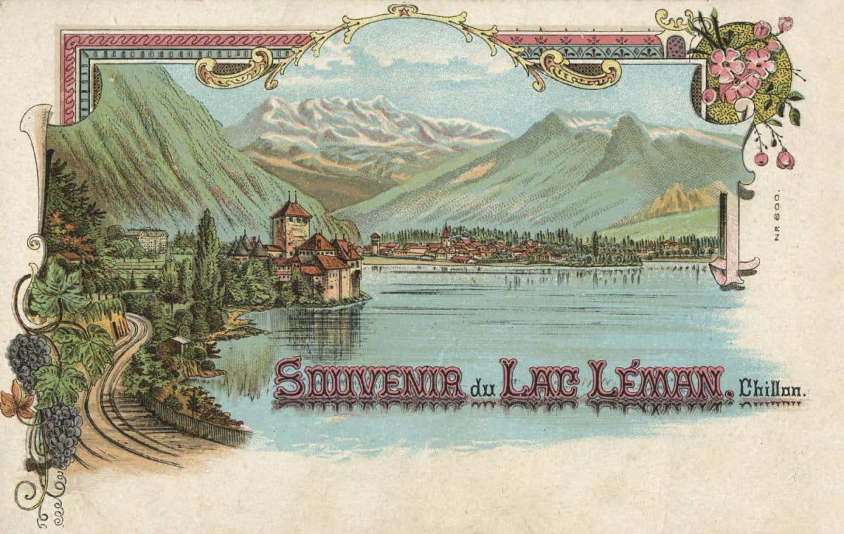 Carte postale, Souvenir du Lac Léman. Chillon