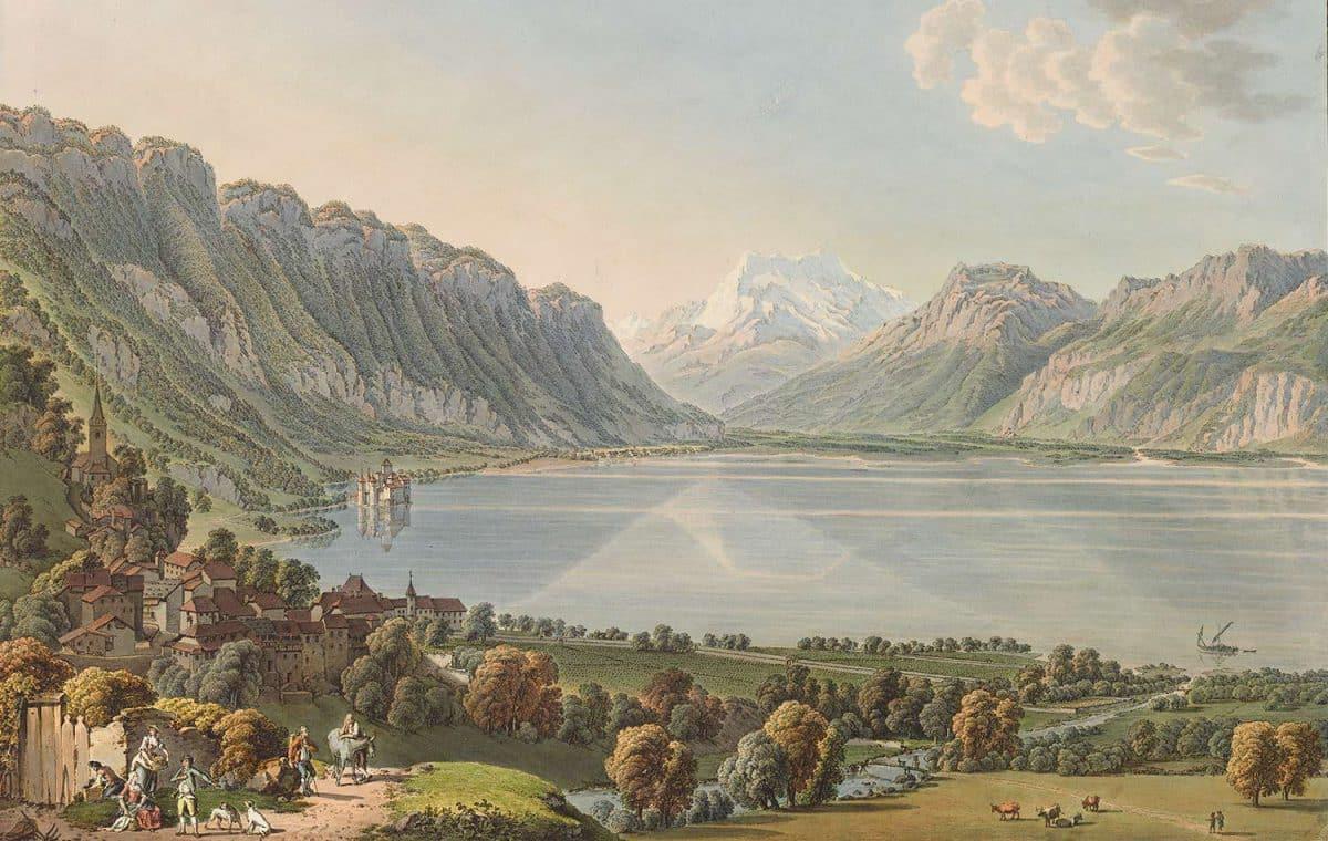 Gravure. Vue de Montreux et du Château de Chillon