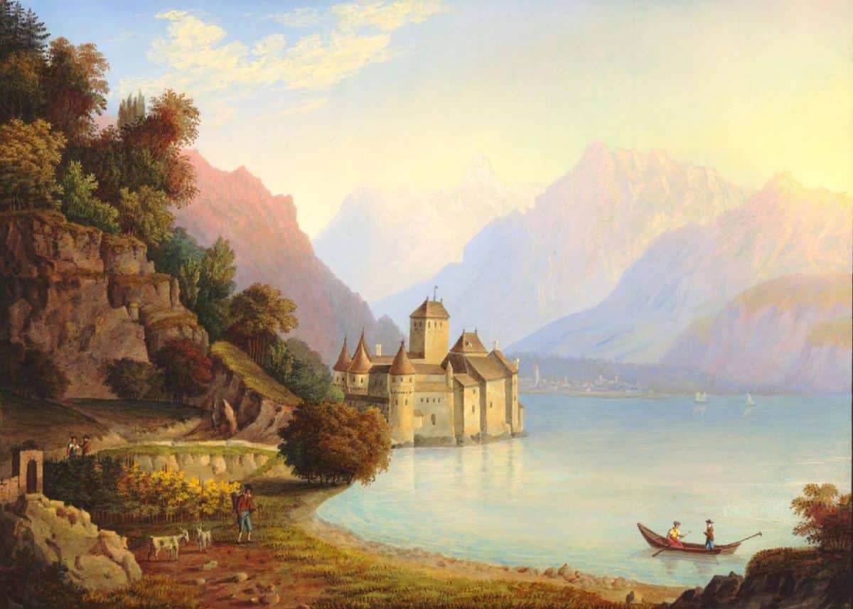 Gravure. Vue du château de Chillon, au Canton de Vaud, prise du côté de Vevay