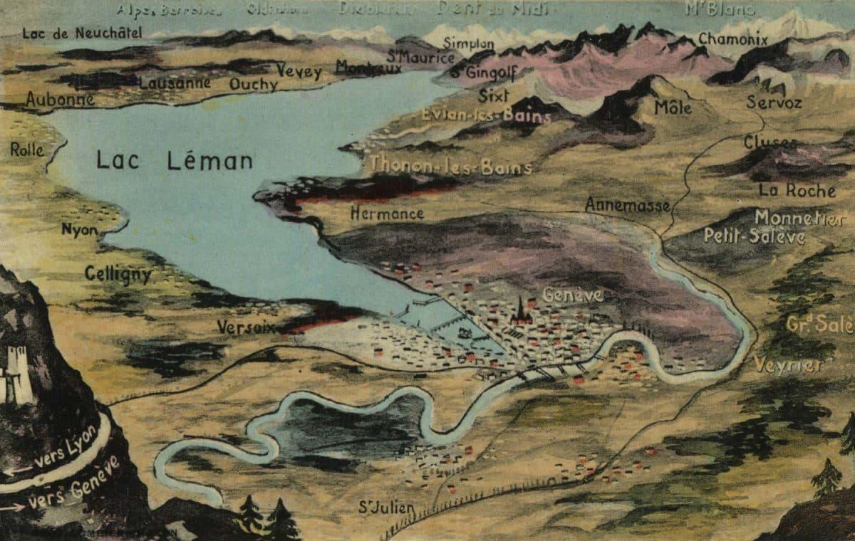 Carte postale, Vue générale du Lac Léman