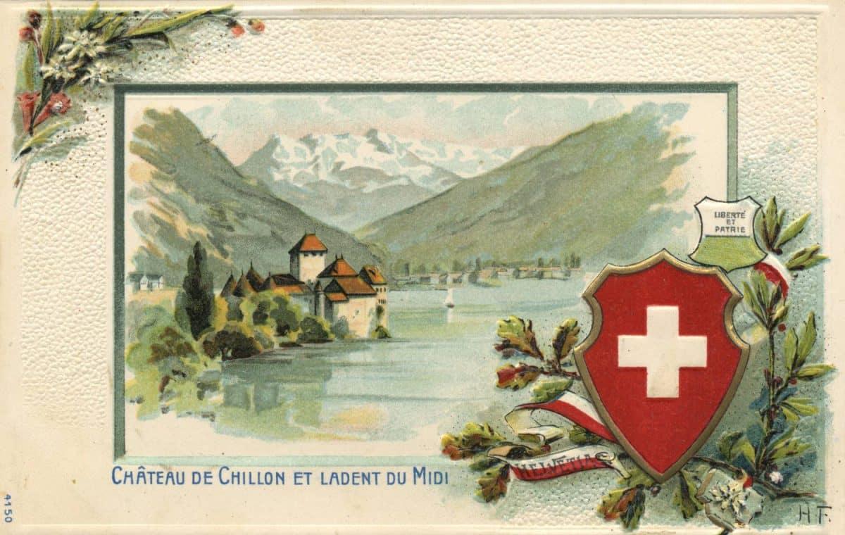 Carte postale. Château de Chillon et la Dent du Midi