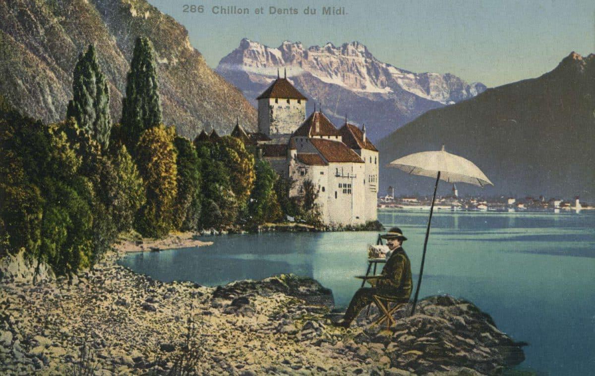 Carte postale. Chillon et Dents du Midi