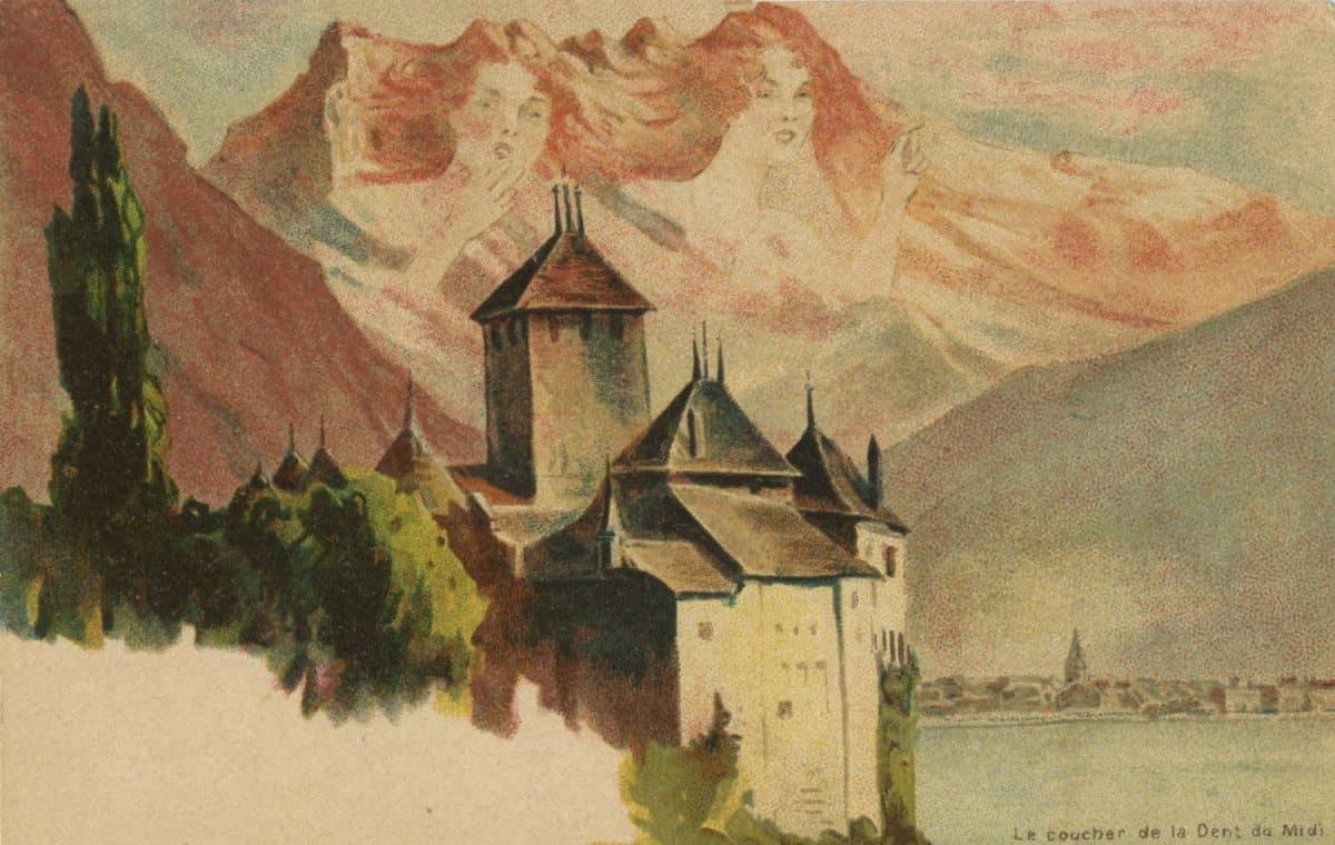 Carte postale. Le coucher de la Dent du Midi