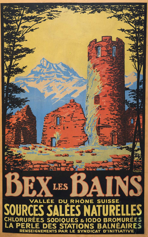 Affiche publicitaire, Affiche Bex les Bains, vallée du Rhône Suisse