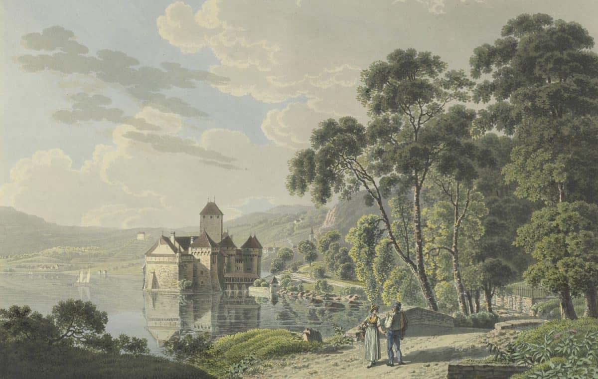 Gravure. Château de Chillon, voyage pittoresque au lac de Genève ou Léman