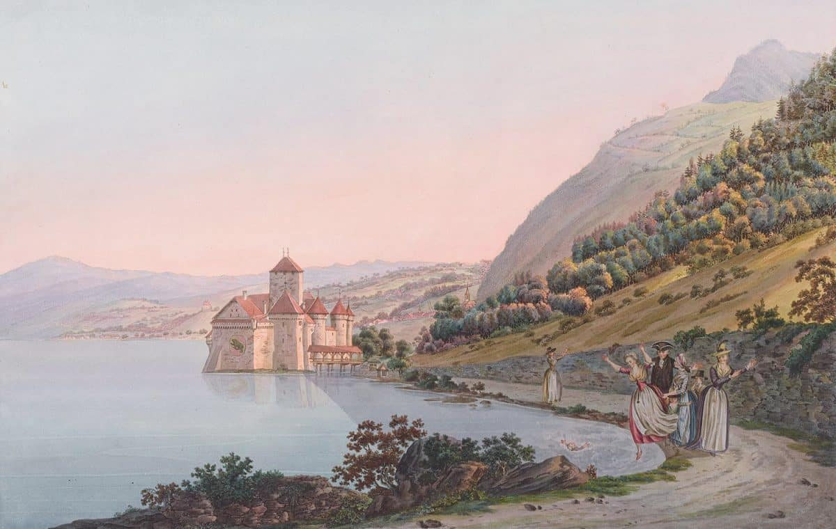 Gravure. Le Château de Chillon, en allant de Villeneuve à Vevey