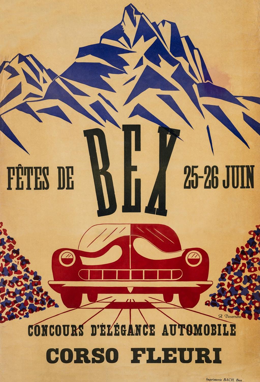 """Affiche. """"Fêtes de Bex, concours d'élégance automobile, Corso fleuri"""""""