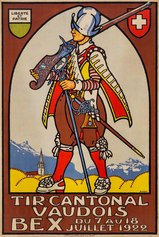 """Affiche, """"Tir cantonal vaudois du 7 au 18 juillet 1922"""""""