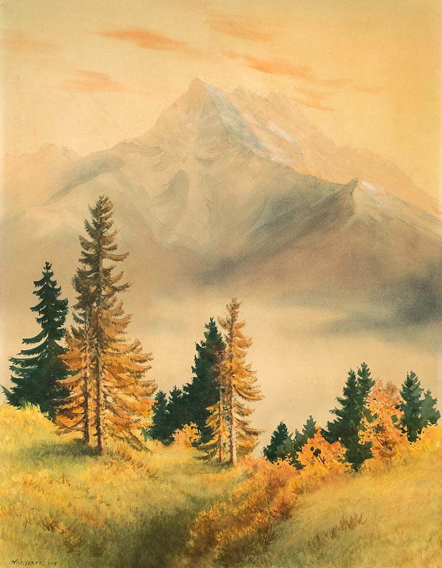 Les Dents du Midi, 1915. Aquarelle sur papier 63 x 48cm. Collection Mandement de Bex