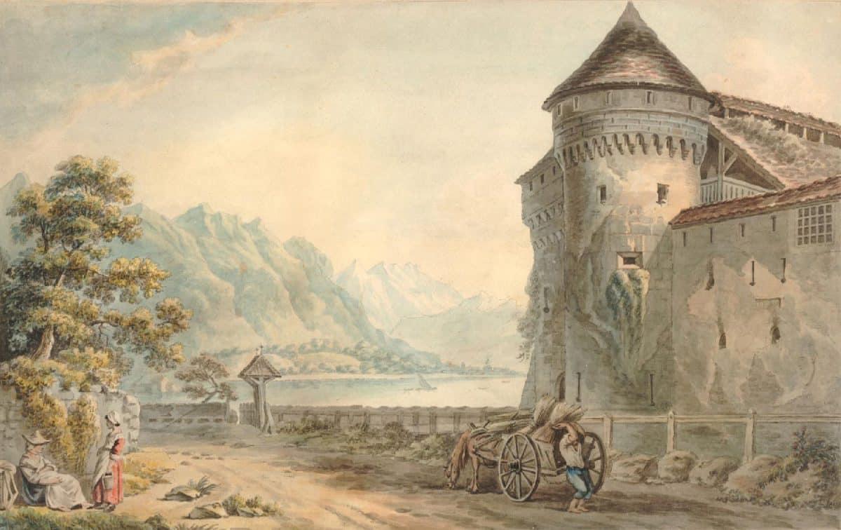 Gravure. Vue du château de Chillon à 2 lieues de Vevey