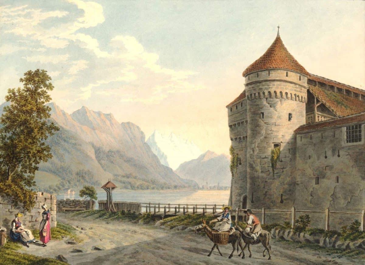 Gravure. Vue du Chateau de Chillon au Lac de Gènève. Canton de Vaud