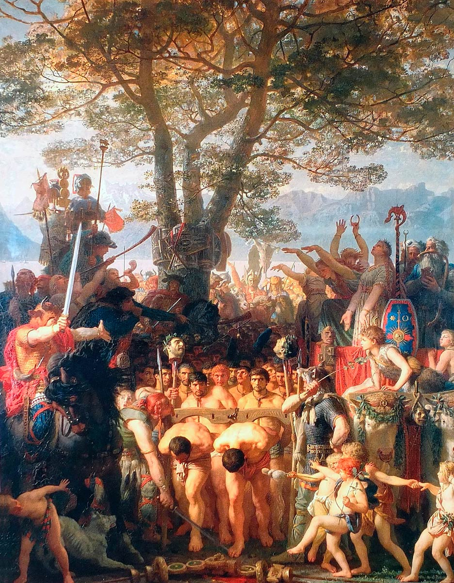 """Charles Gleyre (1806-1874), """"Les Romains passant sous le joug"""", huile sur toile 240 x 192cm, 1858, Musée cantonal des Beaux-Arts, Lausanne"""