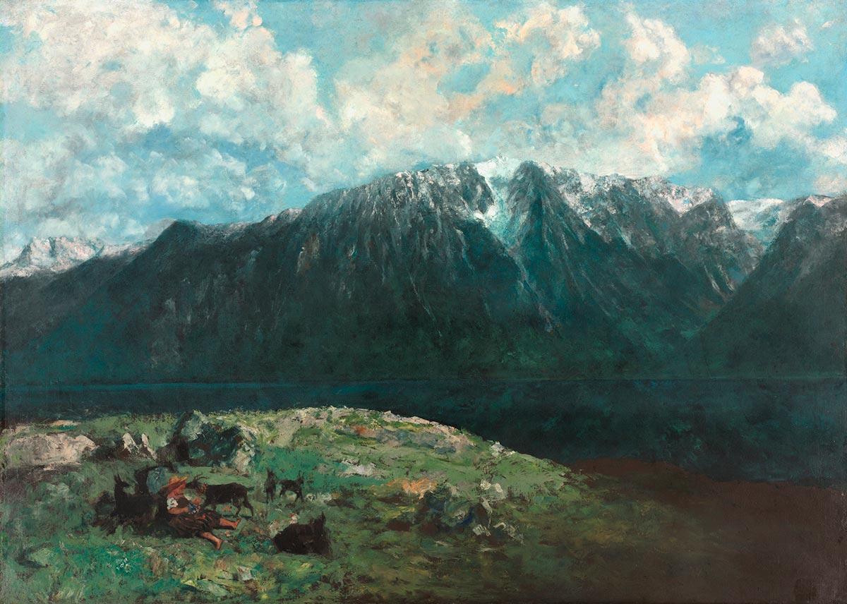 """Gustave Courbet (1819-1877), """"Grand panorama des Alpes, les Dents du Midi"""", 1877. Huile sur toile, 151,2 x 210,2 cm. Le tableau porte, au dos du châssis, le cachet de cire de l'atelier de l'artiste. Dans le catalogue de la vente de 1919, on signale que les premiers plans, à droite, sont inachevés. En Suisse, (à Genève, à Bulle, et à Martigny), Courbet retrouve des communards exilés, ou se lie à des groupes libertaires, lecteurs inconditionnels de """"La Lanterne"""" de Henri Rochefort. Il quitte souvent sa maison de Bon-Port pour de longues randonnées dans les Alpes. C'est depuis un belvédère de montagne qu'il a peint ce panorama des Alpes. C'est là le dernier tableau de grandes dimensions qu'ait exécuté l'artiste en exil. Il projetait de l'envoyer à Paris pour l'exposition universelle de 1878. Source : GUSTAVE COURBET """"Les années suisses"""", Musée Rath. © The Cleveland Museum of Art"""