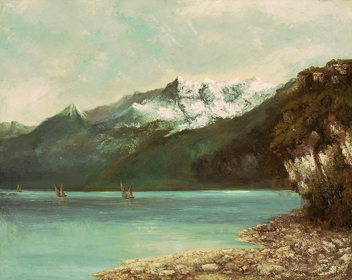 """Gustave Courbet (1819-1877), """"Le lac Léman et les Dents du Midi"""", huile sur toile 74 x 93cm, 1877"""