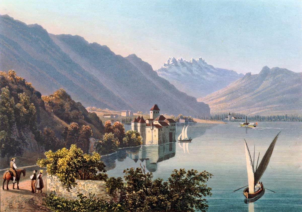 Gravure. Le château de Chillon au bord du lac de Genève
