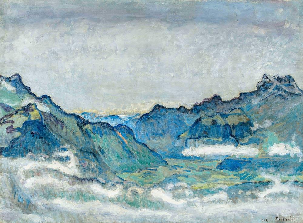 """""""Vallée du Rhône avec Dents du Midi"""", 1912. Huile sur toile 66 x 89cm"""