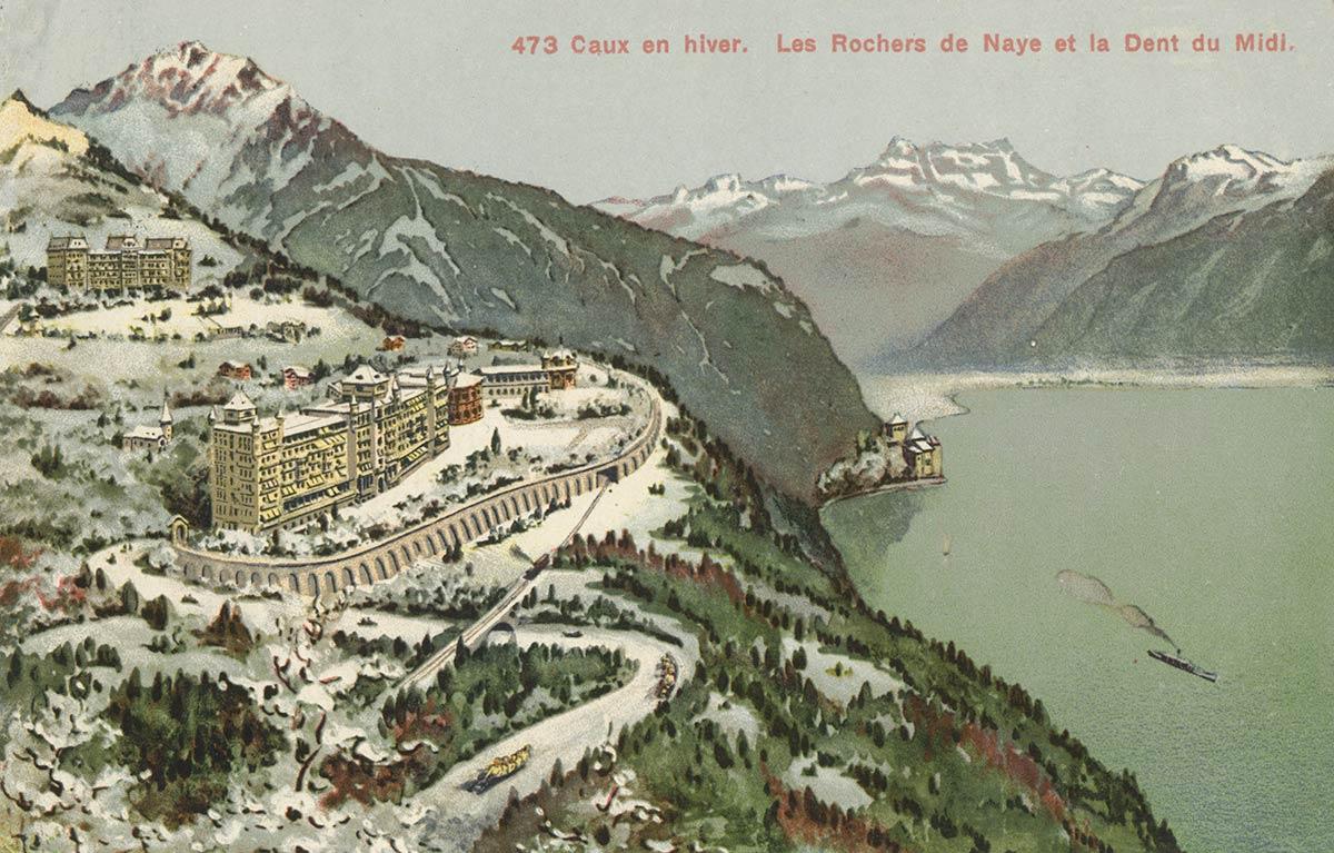 Carte postale. Caux en hiver. Les Rochers de Naye et la Dent du Midi