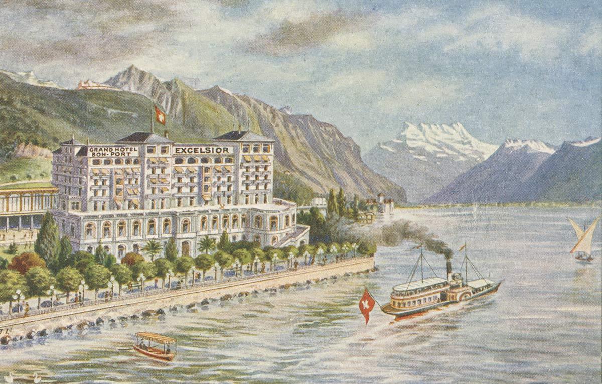 Carte postale. Grand Hôtel Excelsior et Bon-Port, Montreux