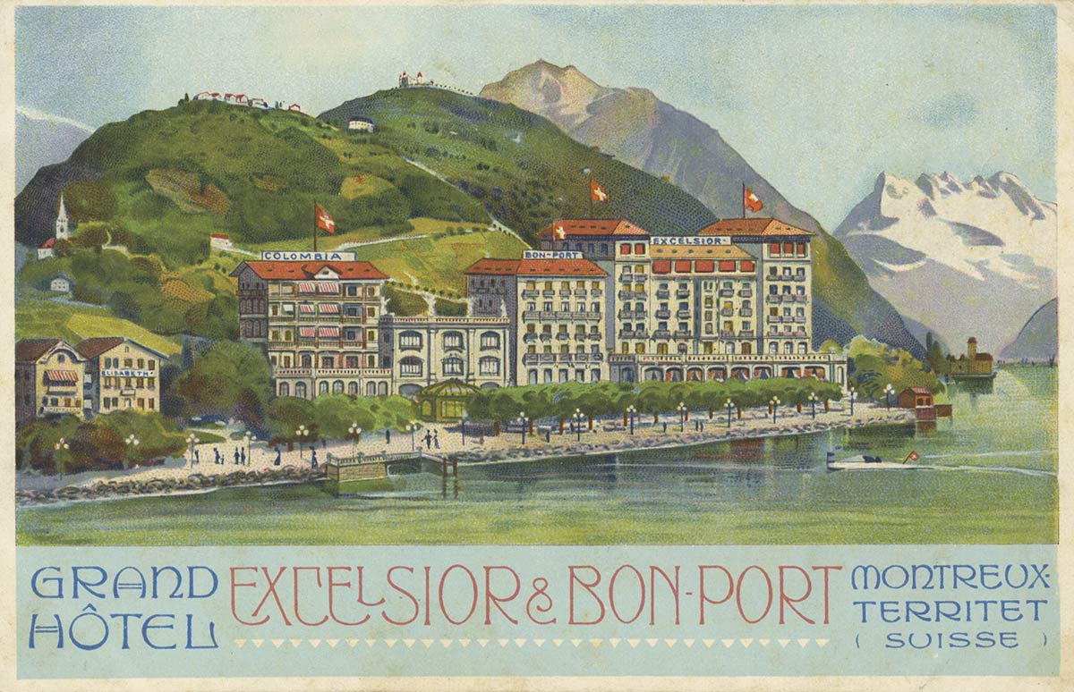 Carte postale. Grand Hôtel Excelsior & Bon-Port, Montreux - Territet (Suisse)