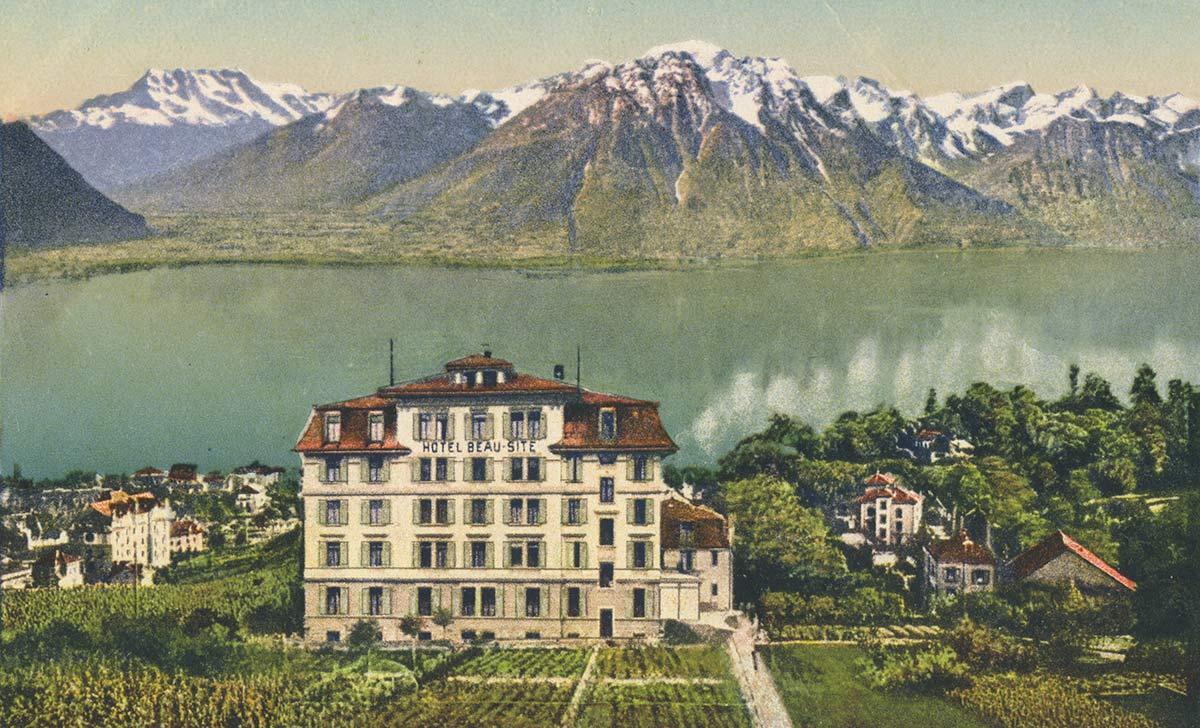 Carte postale. Hôtel Beau-Site, Baugy, Clarens-Montreux