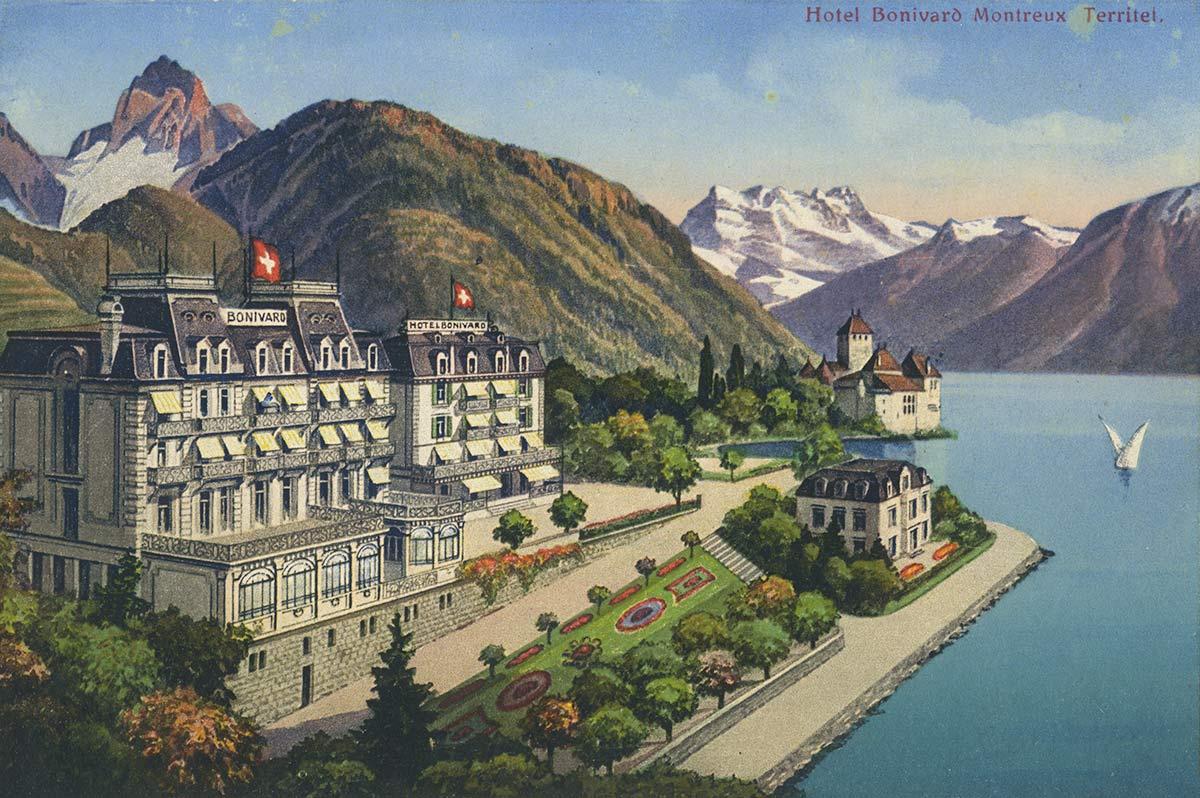 Carte postale. Hôtel Bonivard Montreux Territet