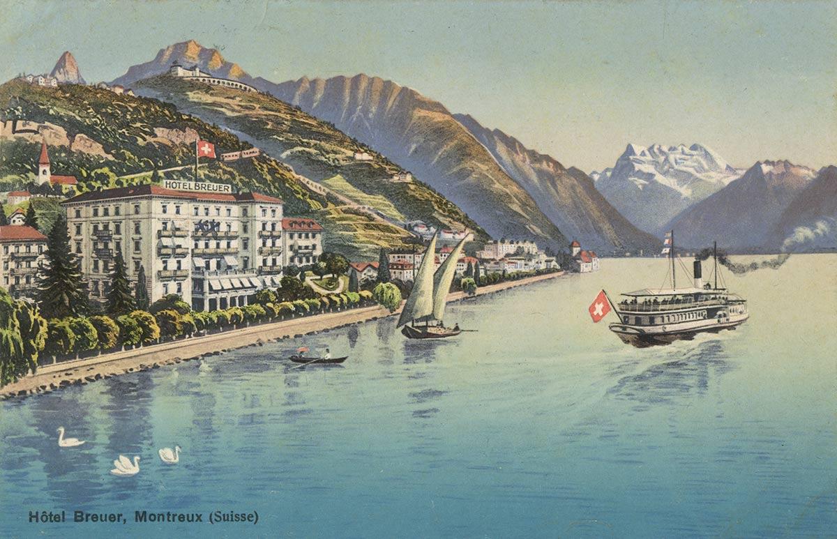 Carte postale. Hôtel Breuer, Montreux (Suisse)