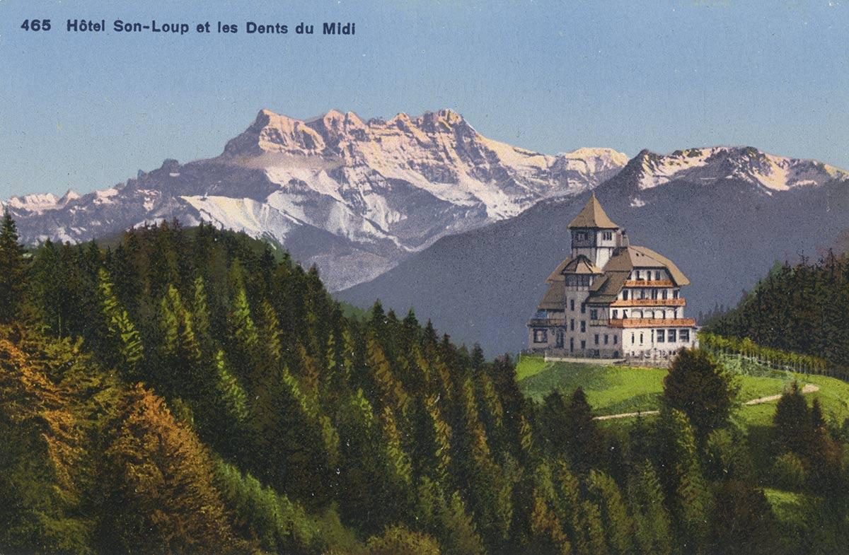 Carte postale. Hôtel de Sonloup et les Dents du Midi