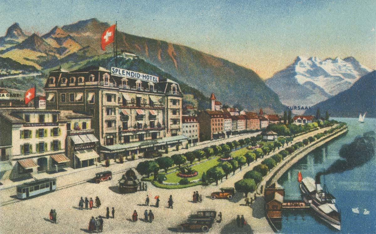 Carte postale. Hotel Splendid et Tonhalle, Montreux